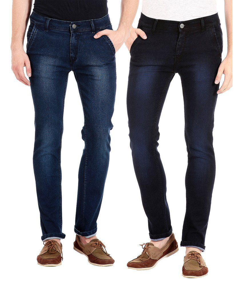 Flyjohn Blue Slim Fit Jeans - Set of 2