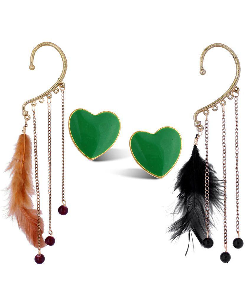 Luxor Green Alloy Lovely Earrings - Combo