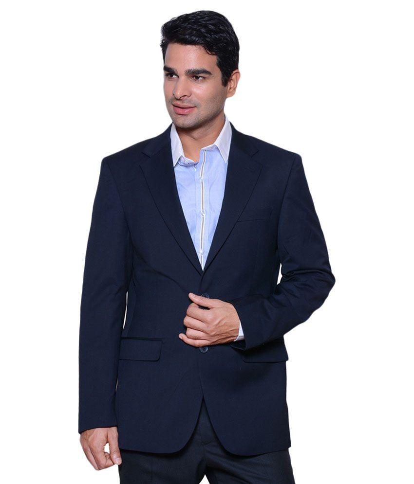 Belario Navy Cotton Blend Casual Blazer