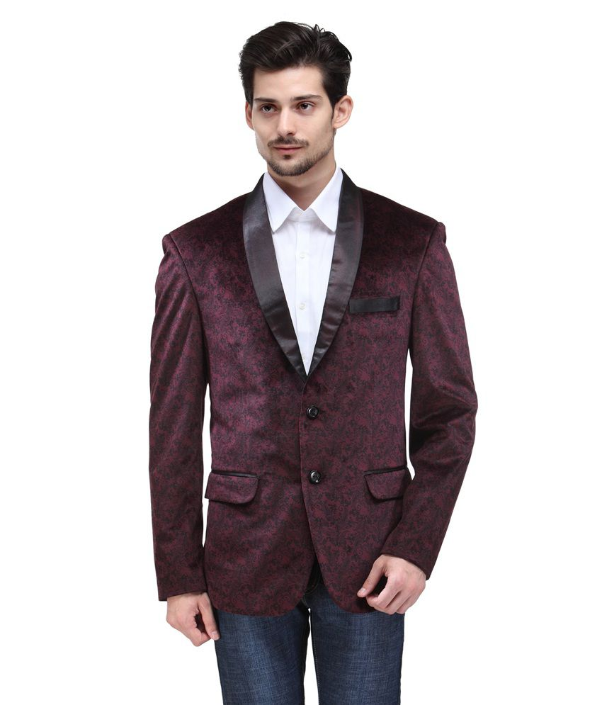 Canary London Maroon Cotton Blend Blazers