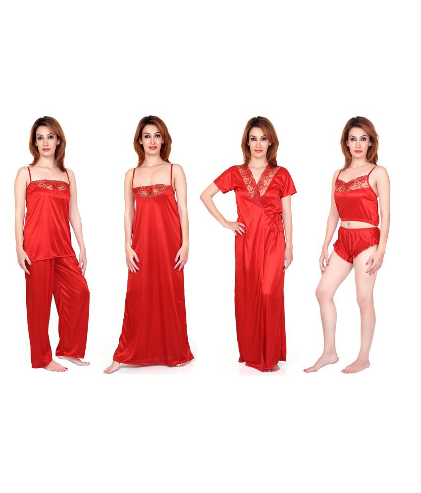 5e2e1b955d Buy Fabme Red Satin six piece Nighty Online at Best Prices in India -  Snapdeal