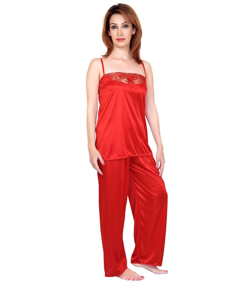 b33a26d52b Buy Fabme Red Satin six piece Nighty Online at Best Prices in India ...