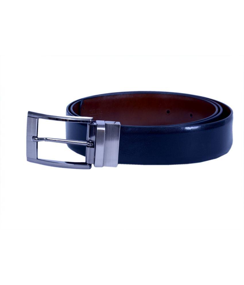 Master Belts Black Italian Leather Reversible Formal Belt For Men