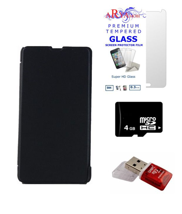 Aryamobi Combo Of Black Flip Cover For Nokia Lumia 530 With 4gb Card, Tempered Glass, Card Reader