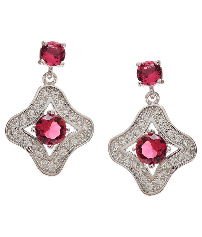 Divine Jewels 92.5 Sterling Silver Colour Spark Drop Earrings