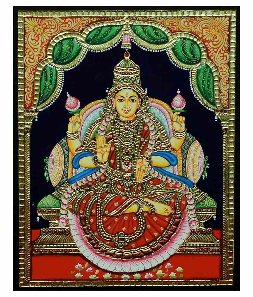 Flashing Rainbows Gold Foiled Dhanalakshmi Religious Painting