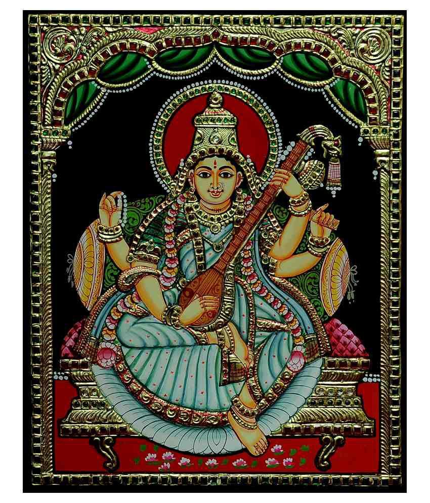 Flashing Rainbows Gold Foiled Saraswathi Religious Painting