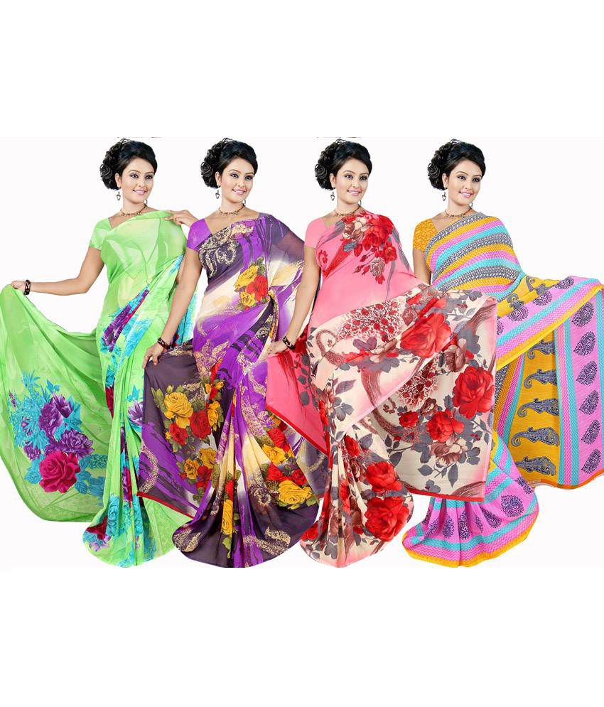Garg Fashion Multi colour Georgette Pack of 4