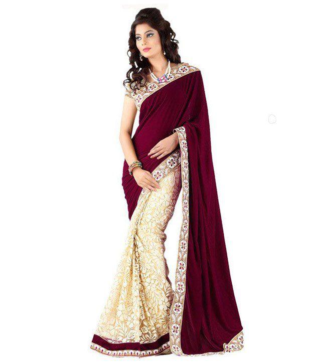 New Designer Saree Maroon Velvet Saree - Buy New Designer ... on New Get Design  id=79717