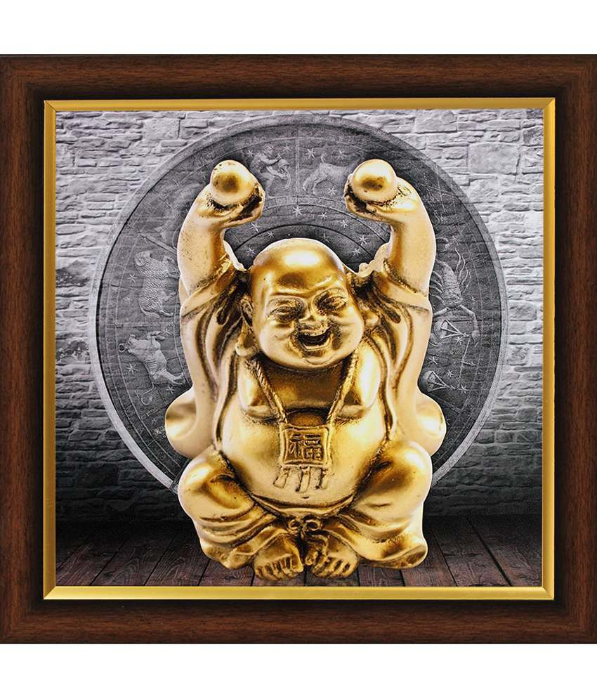 saf textured vastu laughing buddha painting with wooden frame