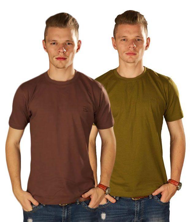 TSG Escape Multicolour Cotton T Shirts (Pack of 2)