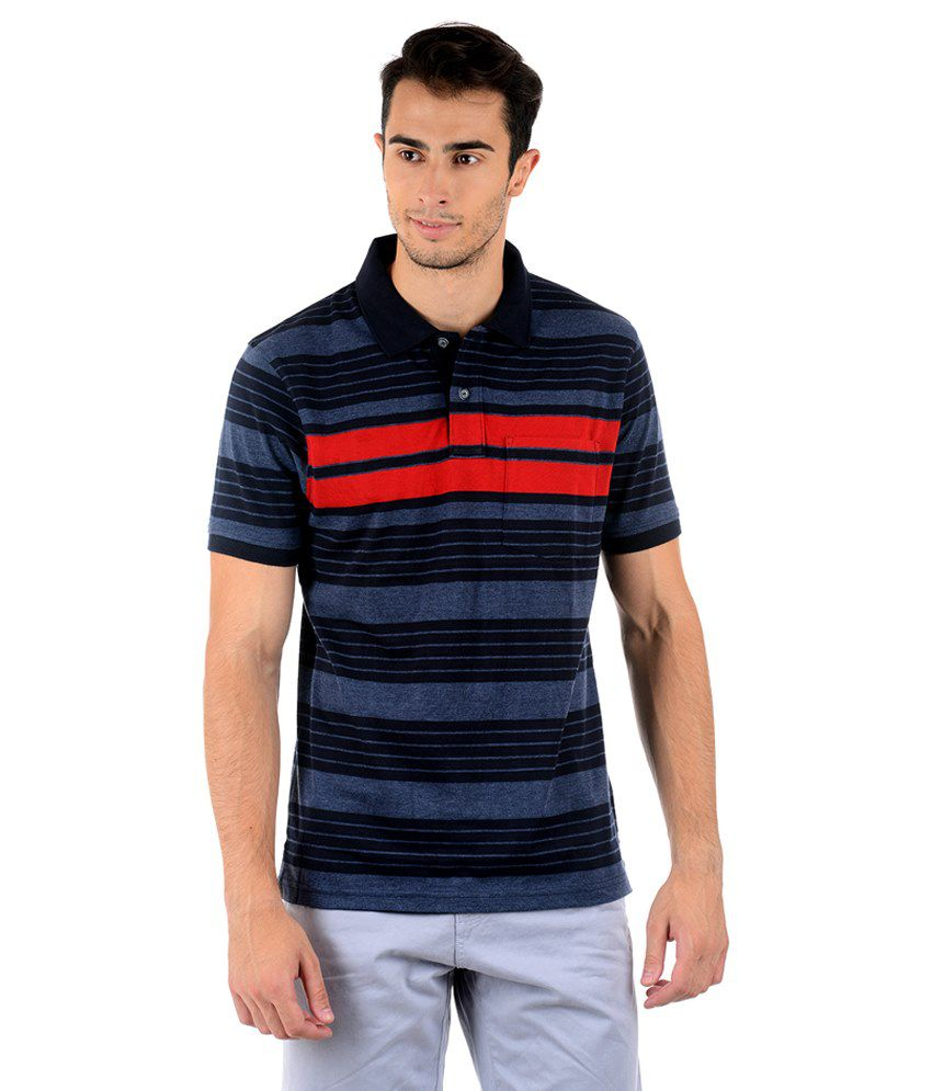 Keywest Black & Red Half Striper Polo T Shirt - Buy ...