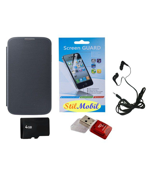 Stilmobil Combo Flip Cover Kit For Samsung Galaxy Ace Nxt Sm-g313 - Black With Screen Cover, 4gb Memory, Card Reader, Earphone