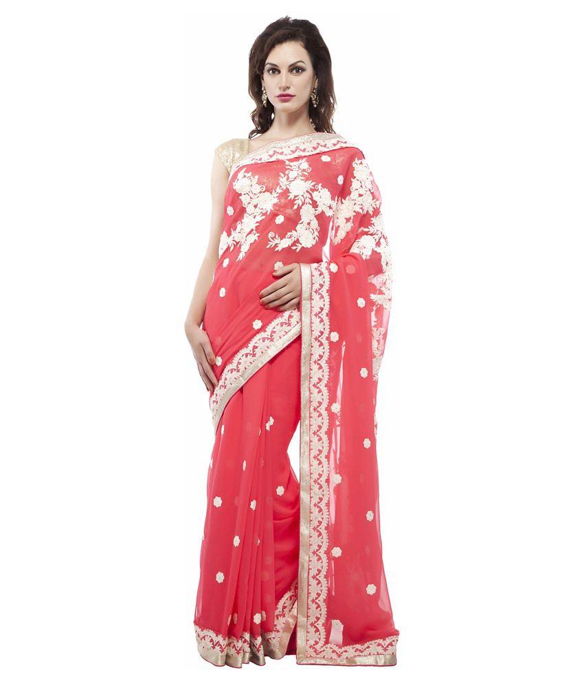 Chhabra 555 Fashion Pvt Ltd Pink Faux Georgette Saree