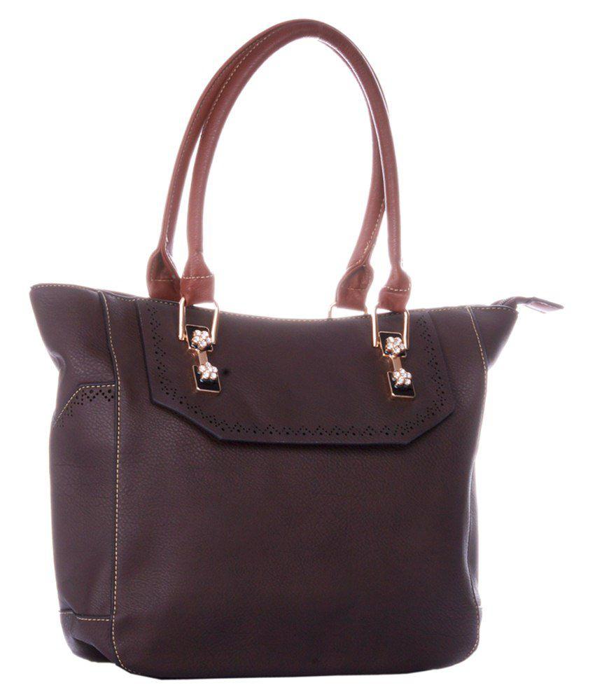 La Plazeite Fabric Hand Held Bag-Brown