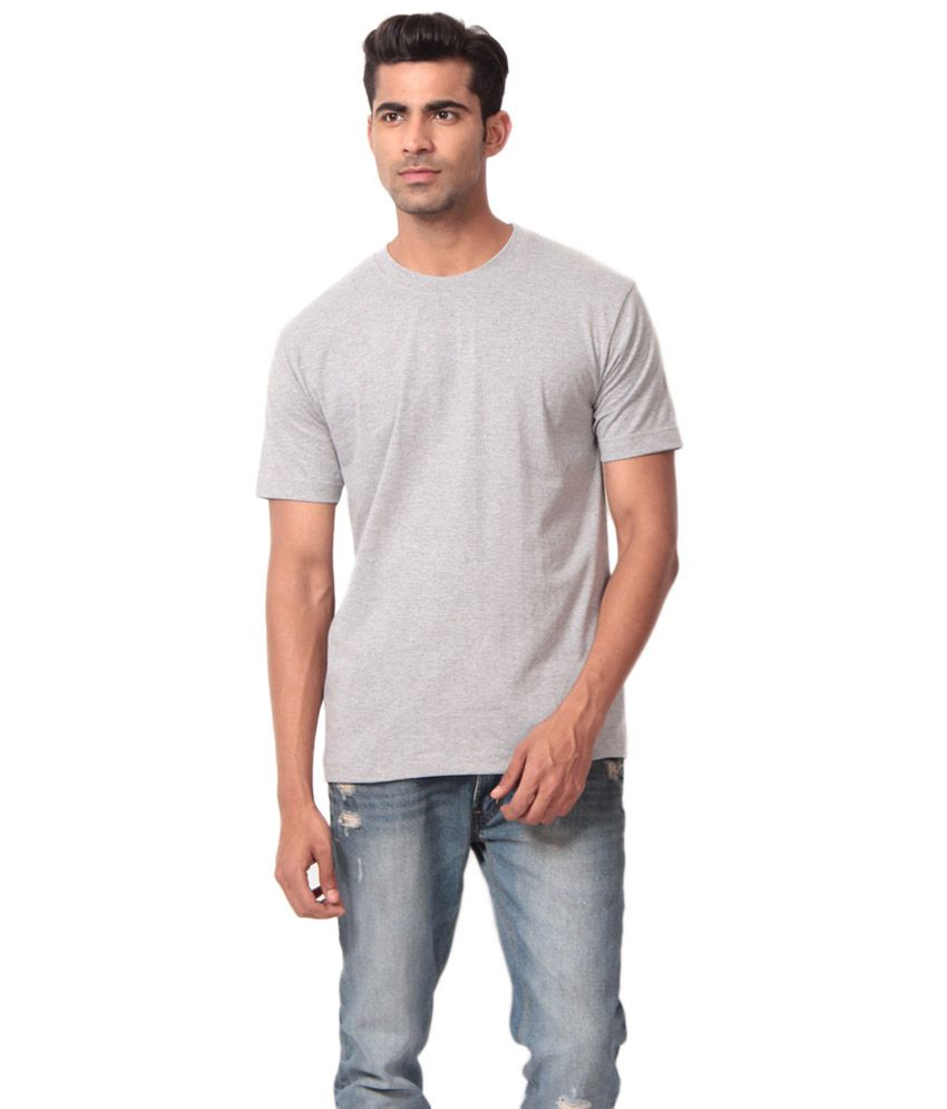 Clothe Grey Cotton Blend Round Neck T- Shirt