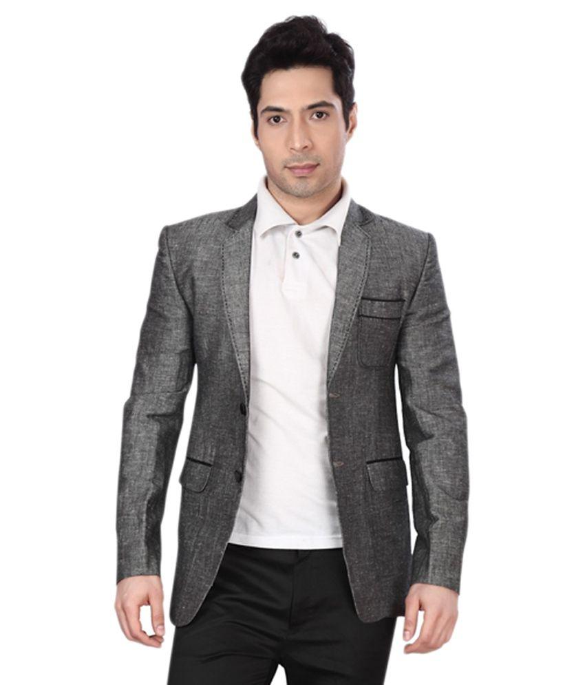 Dheeraj Sharma Gray Cotton Blend Blazer