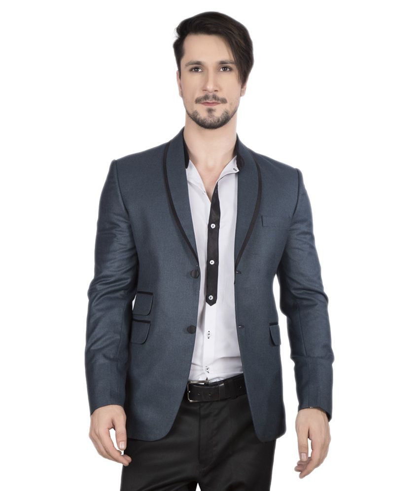 Dheeraj Sharma Navy Cotton Blend Blazer