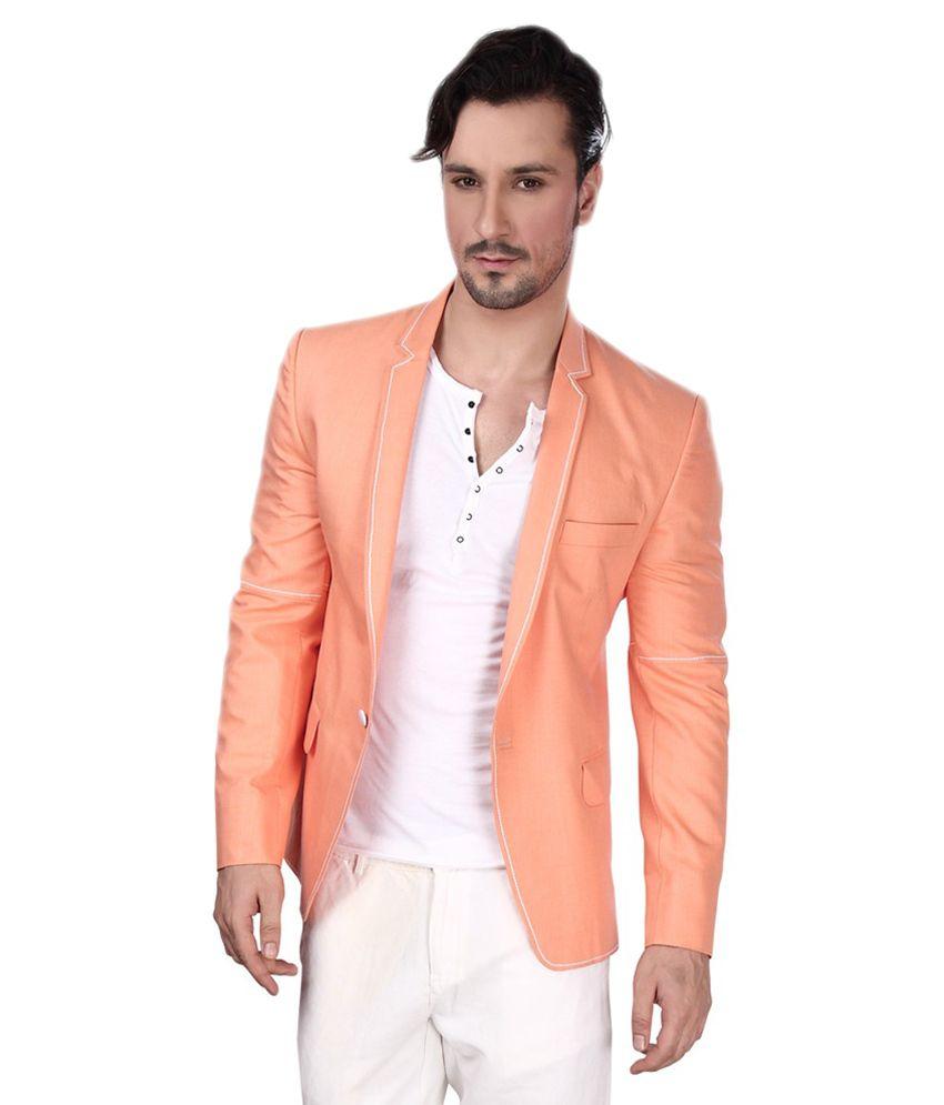 Dheeraj Sharma Peachpuff Cotton Blend Blazer
