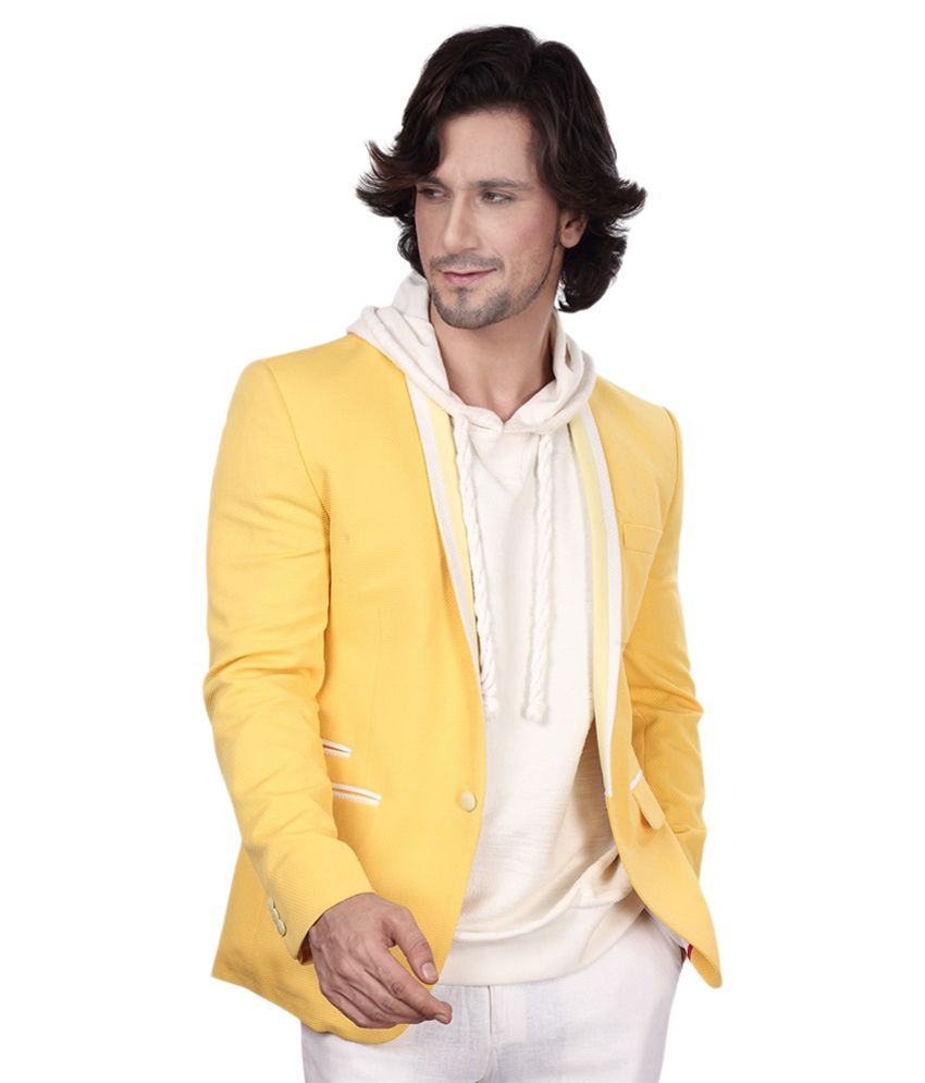Dheeraj Sharma Yellow Cotton Blend Blazer