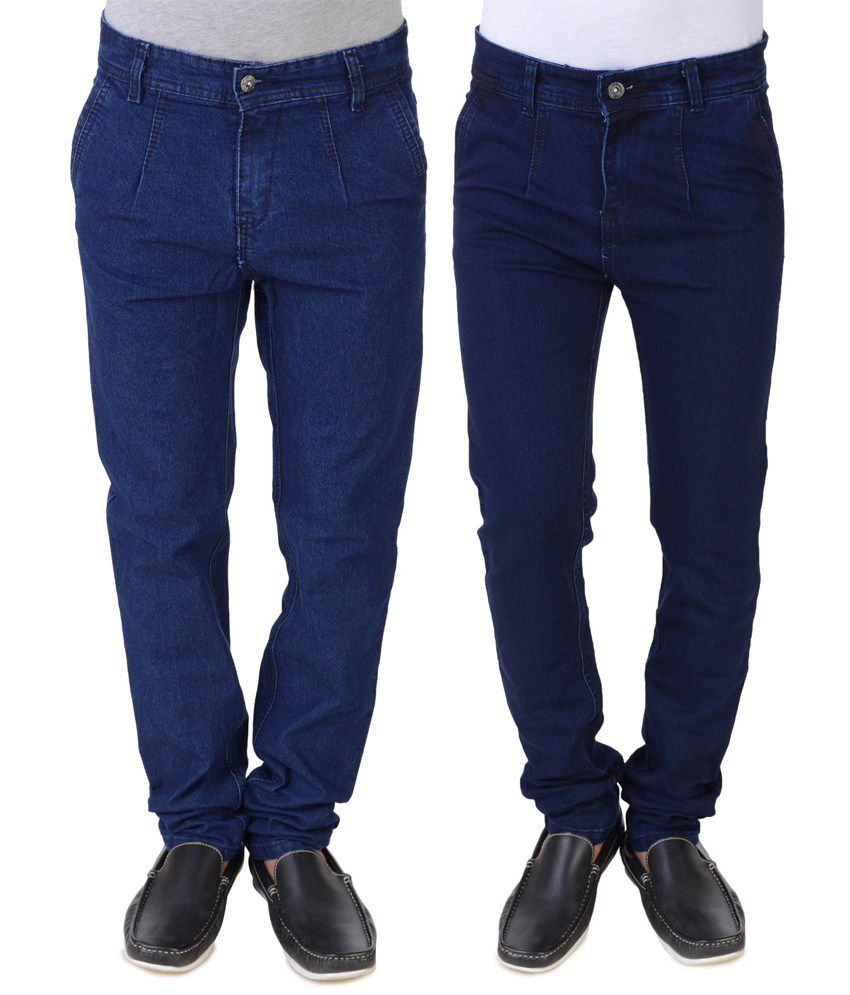 Threads Blue Regular Fit Jeans - Pack of 2