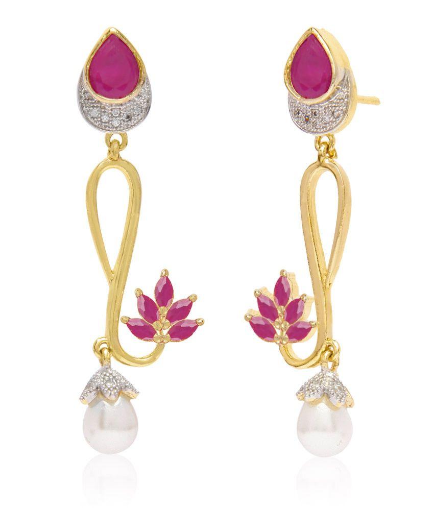 Jewels Galaxy Marvelous Floral Design Red American Diamond Earrings