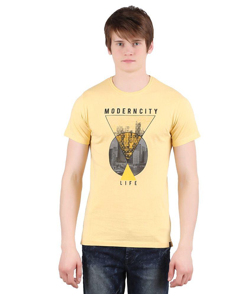 Moonwalker Light Yellow Round Neck T-Shirt