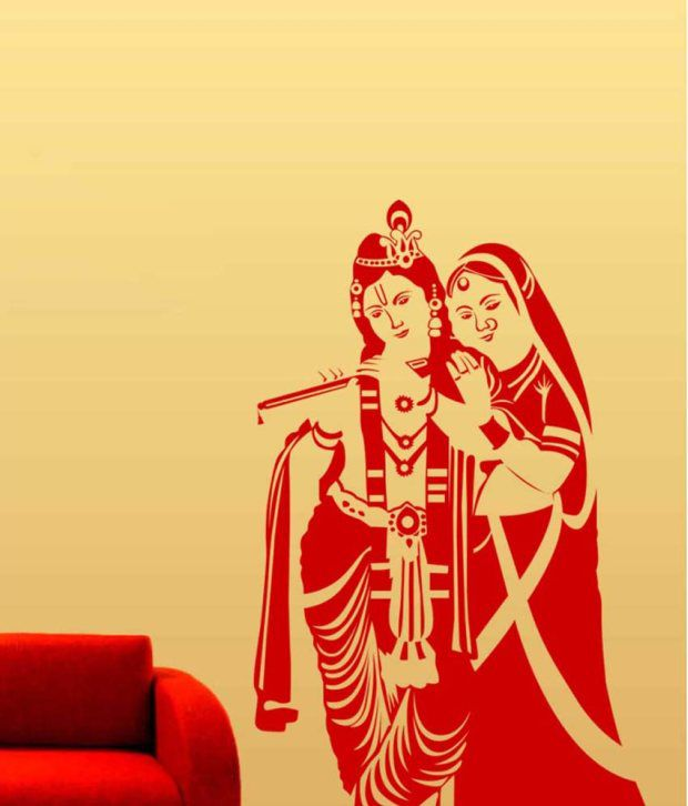 trends on wall red pvc radha krishna wall sticker - buy trends on