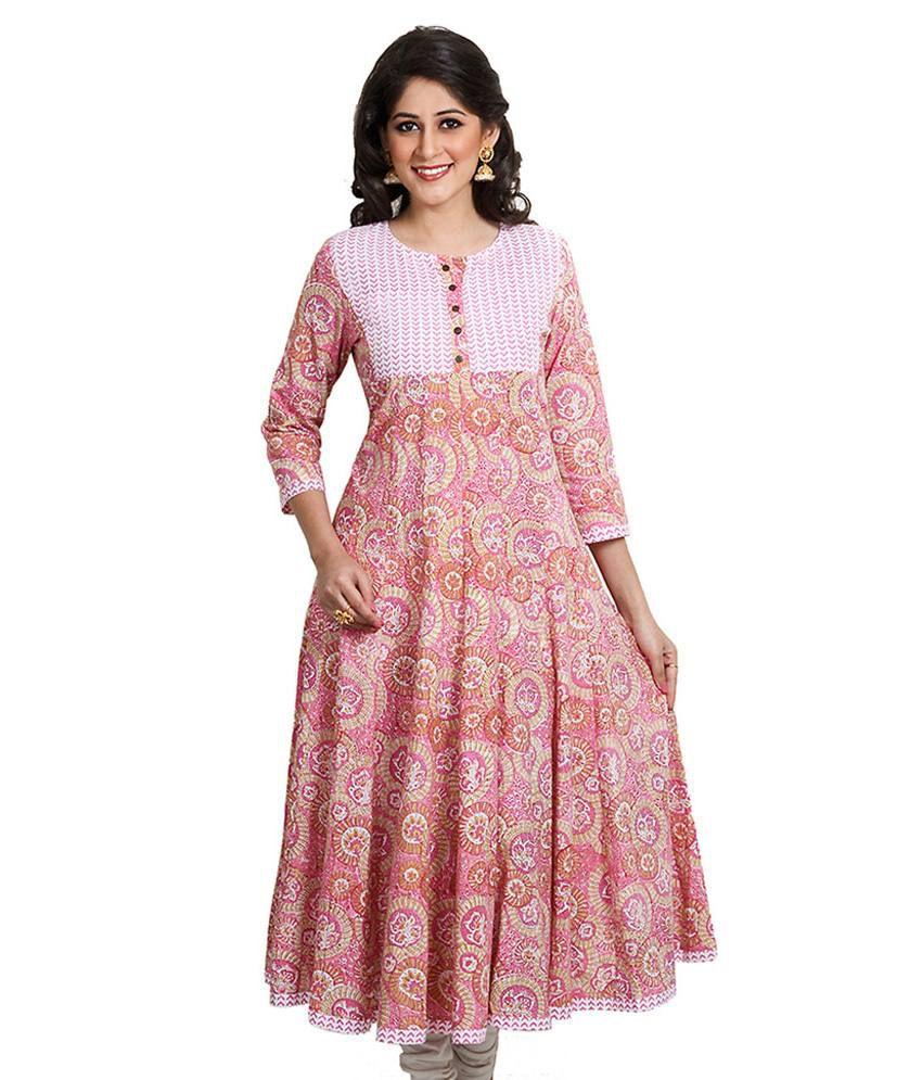 Aarohee Pink Cotton Kurti