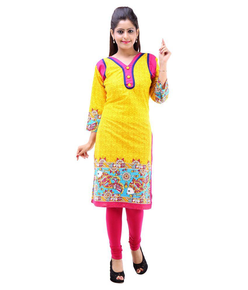 Abhinandan Crafts Yellow Cotton Kurti