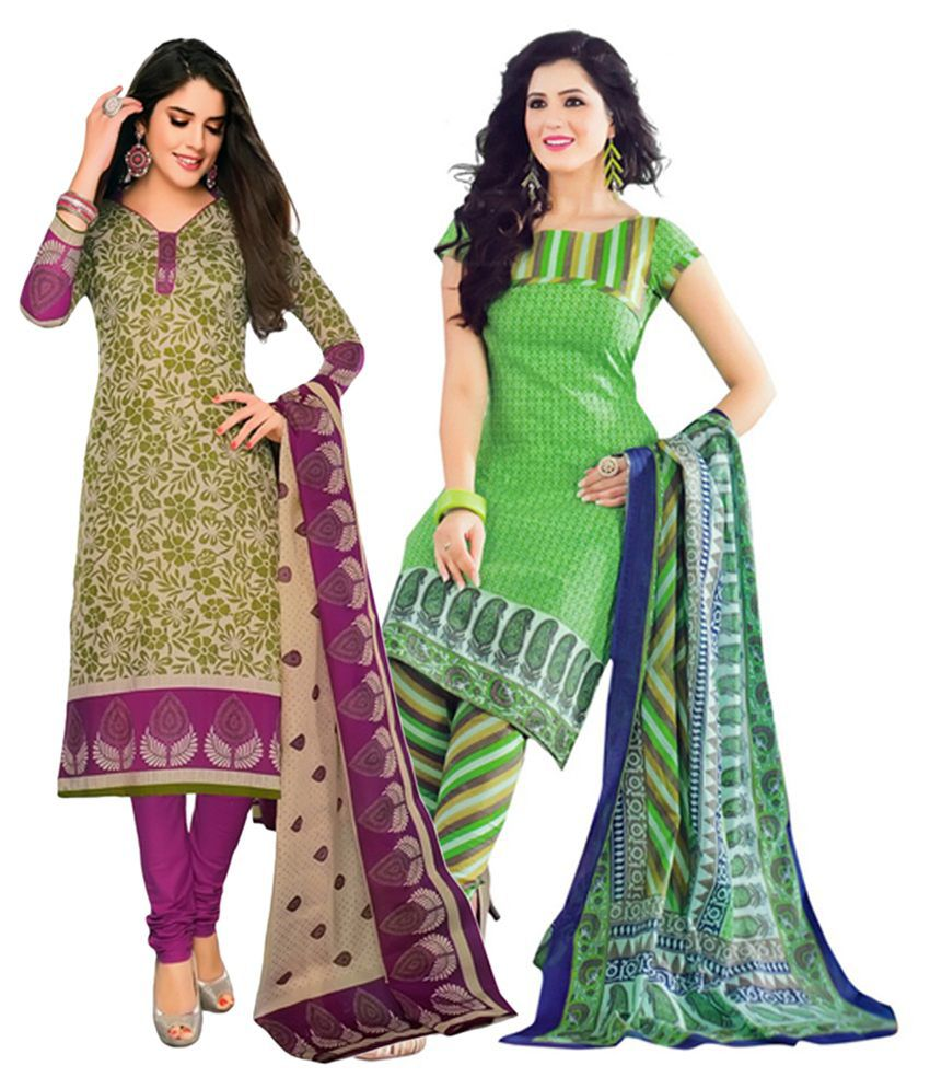 Giftsnfriends Green Printed Unstitched Cotton Dress Material (Pack of 2)