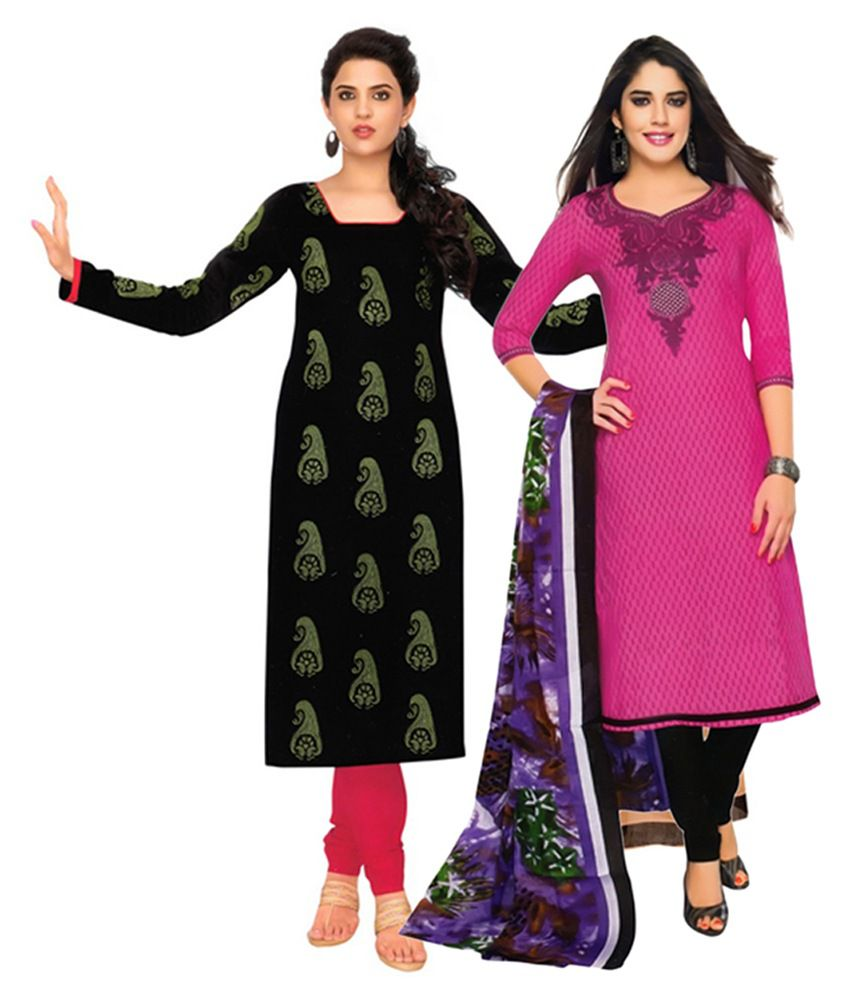 Giftsnfriends Pink & Black Printed Unstitched Cotton Dress Material (Pack of 2)