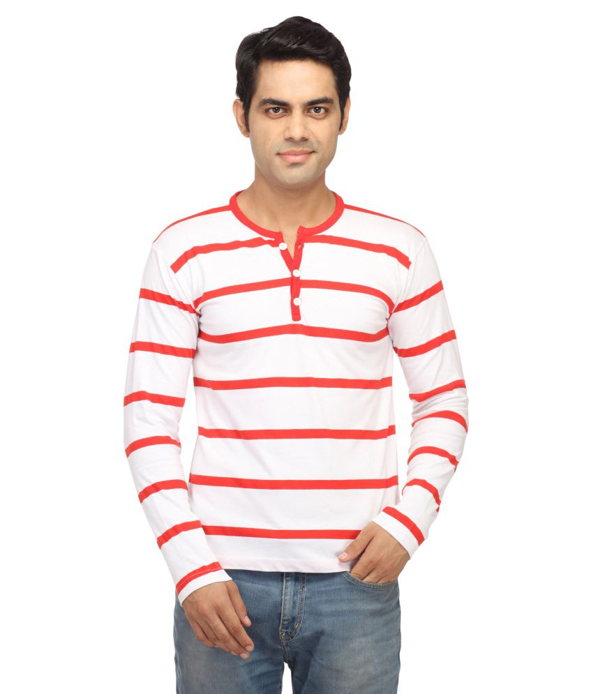 Leana Red & White Stripe Henley T-Shirt