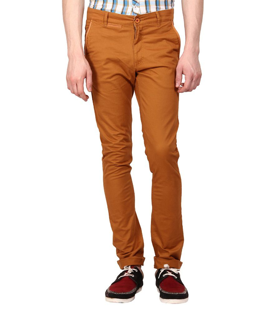 I-voc Brown Slim Fit Casual Chinos