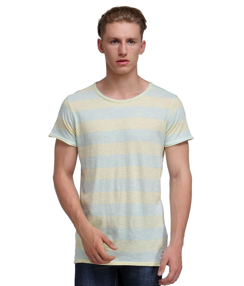 Kotty Grey And Yellow Cotton T- Shirt
