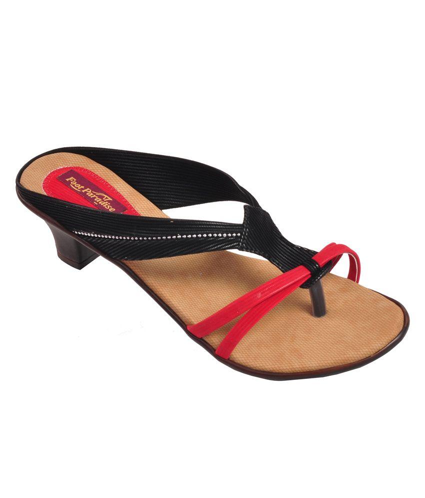 Kwality Shoes Black Heeled Slip-On