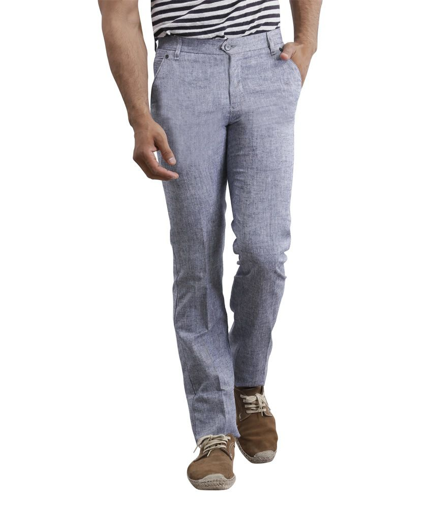 Zonic Grey Slim Fit Formal Flat Trouser