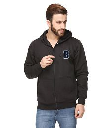 Scott International Black Full Cotton Blend Hooded Sweater