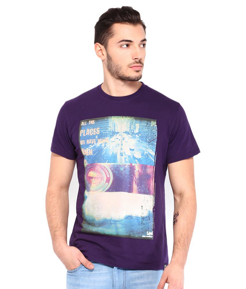 Being Human Purple Cotton Blend Half Sleeves T Shirt