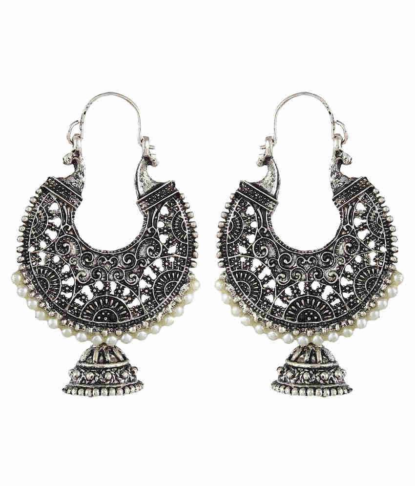 Crazytowear Traditional Pearl Studded Black Metal Hoop Earring