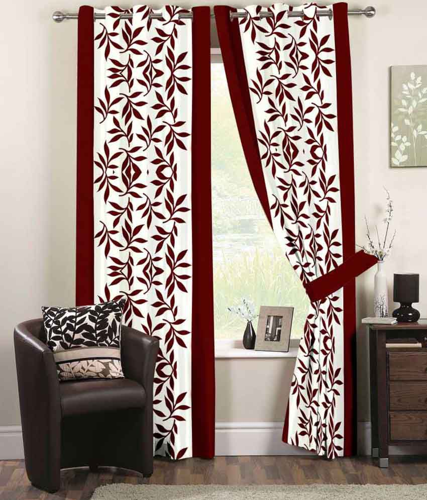 Fabric nation set of 4 window eyelet curtains printed red for Window nation