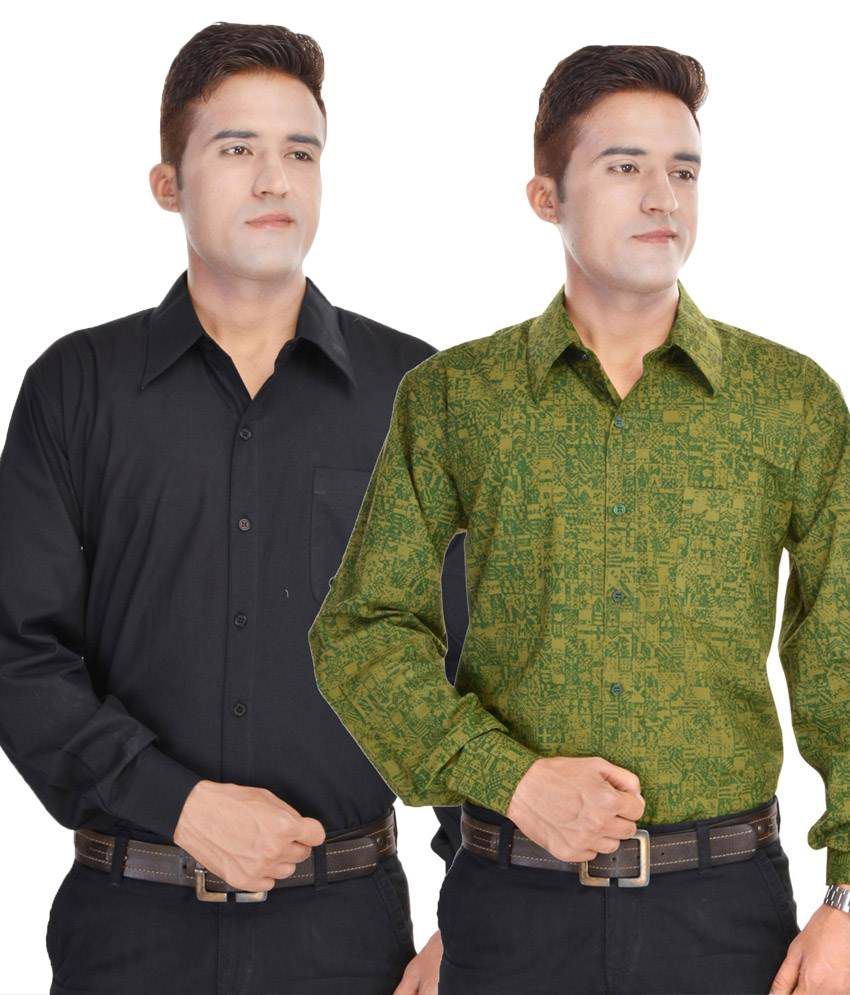 c7322539be5 Kalrav Fashion Black And Green Cotton Formal Shirt - Combo Of 2 - Buy  Kalrav Fashion Black And Green Cotton Formal Shirt - Combo Of 2 Online at  Best Prices ...