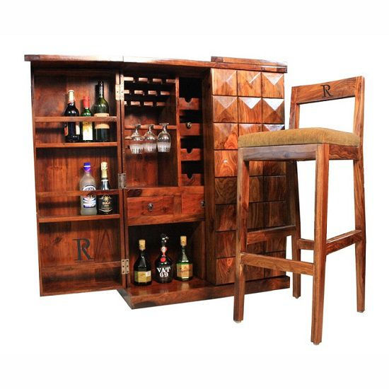 Ethnic india art small diamond bar cabinet with 2 free bar for Wooden bar unit