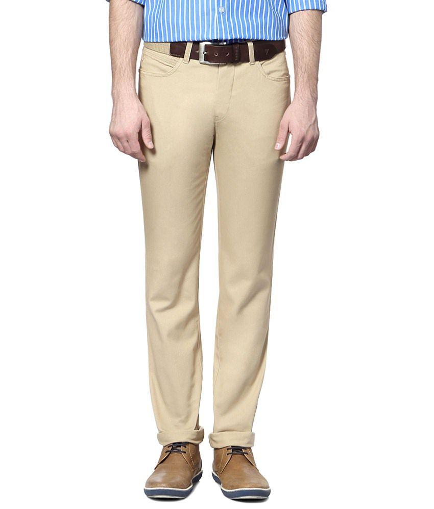 Allen Solly Beige Slim Fit Trouser for Men