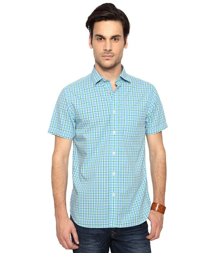 Byford by Pantaloons Blue & Green Slim Fit Checkered Casual Shirt for Men