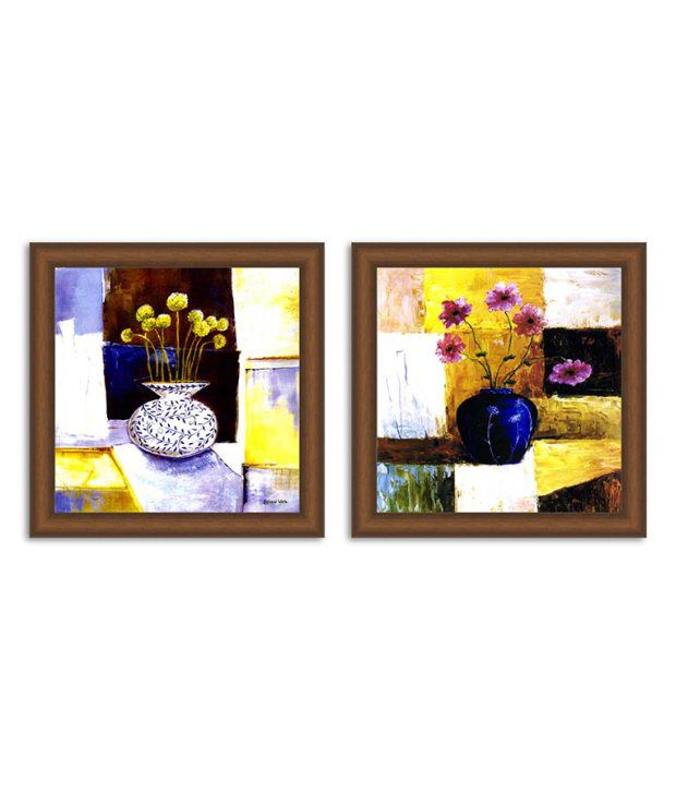 Painting Mantra Textured Floral Painting Set Of 2