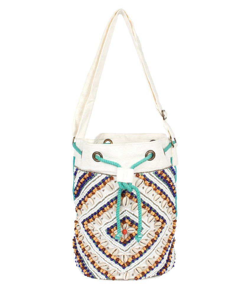 Scarves & Glitters Shoulder Bag-White