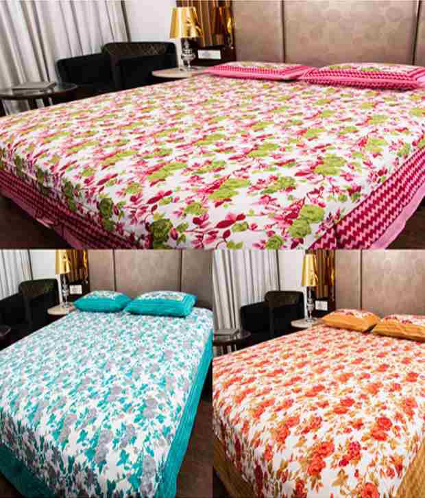 UniqChoice MuliColoured Jaipuri Printed Cotton 3 Double Bed Sheet Combo With 6 Pillow Cover