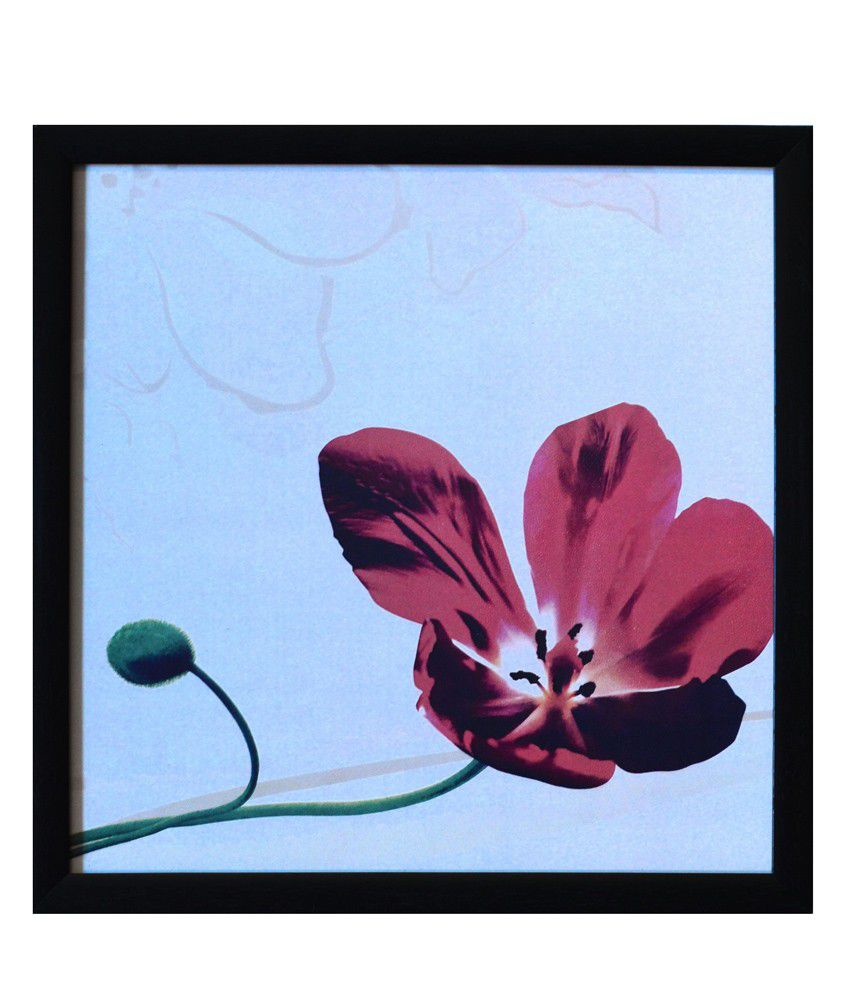 eCraftIndia Floral Theme Satin Matt Texture Framed UV Art Print