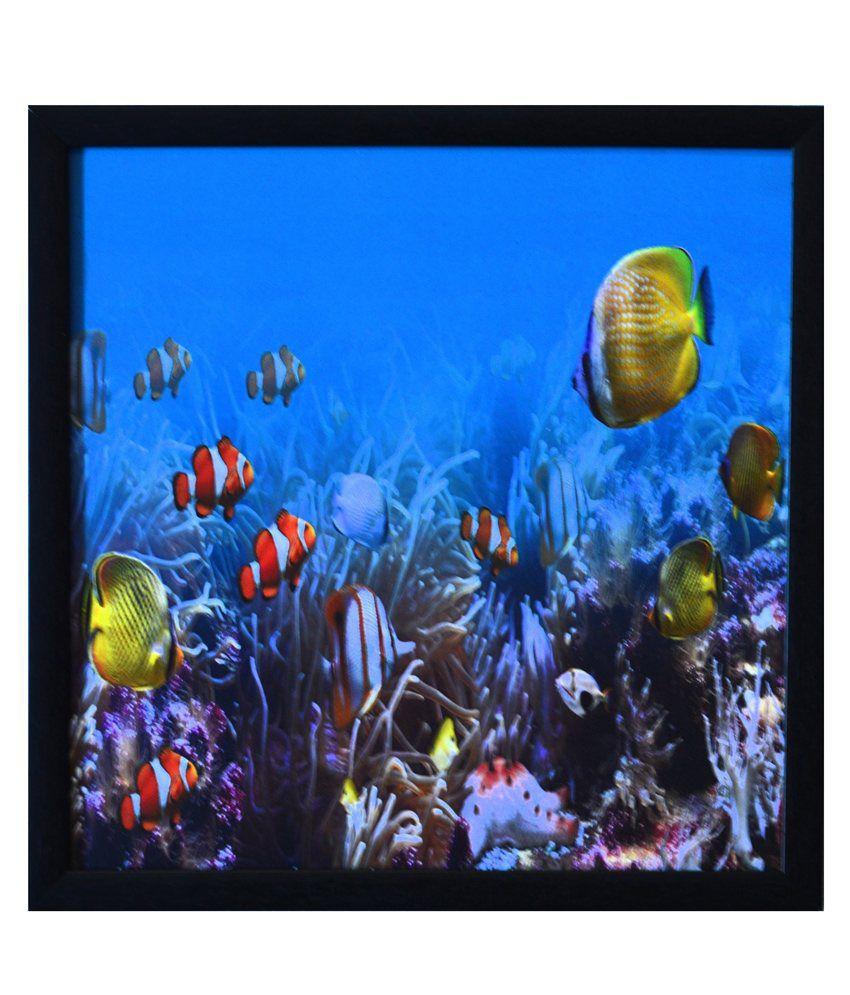 eCraftIndia 3D Sea Life view Design Satin Matt Texture Framed UV Art Print